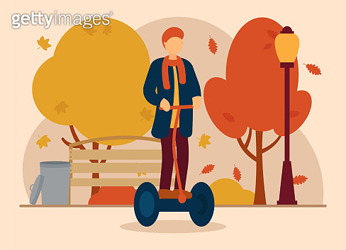 Vector autumn concept. A man in autumn clothes rides a segway in a park where leaves are falling, there is a lantern, a trash can and a bench. Autumn sports. Can be used for website or web banner.