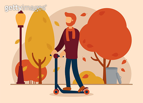 Vector autumn concept. A man in autumn clothes rides a scooter in a park where leaves are falling, there is a lantern and a trash can. Autumn sports. Can be used for website or web banner.