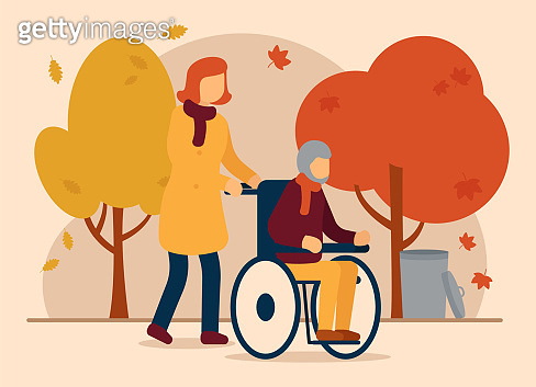 Vector autumn concept. The girl walks with her dad, who is sitting in a wheelchair. Autumn, colorful, beautiful park. Autumn walks with relatives. Can be used for website and web banner.