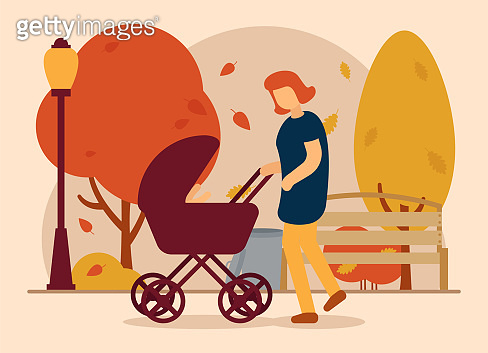 Vector autumn concept. A girl walks in an autumn park with a stroller in which a child lies. The kid reaches out for his mother. Can be used for website and web banner.