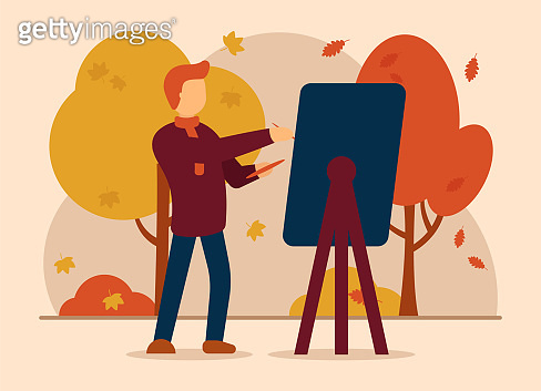 Vector concept of autumn inspiration. A man in an autumn park paints a picture with a paintbrush and a large easel. Inspired by the colorful and beautiful nature of autumn. Can be used for website and