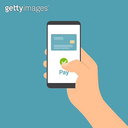 Flat design illustration of male hand holding touch screen mobile phone. Online payment by credit card from internet banking - vector