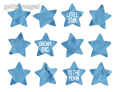 Watercolor collection of five pointed navy blue stars and handwritten words:
