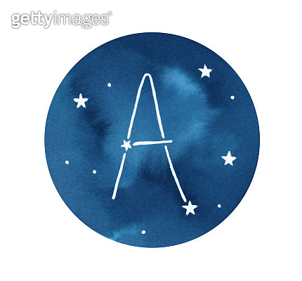 Watercolour illustration of round shape with dark navy blue sky, stars and