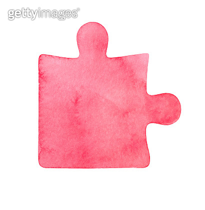 Watercolor illustration of pastel pink puzzle piece. One single object, front view. Symbol of intellect.