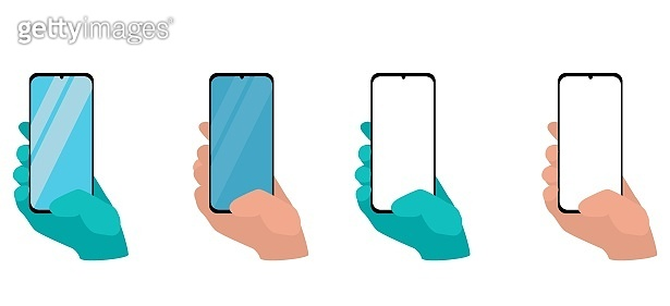 Hand holding smart phone isolated on white background. Set application template illustration of a smartphone. Human using mobile phone, vector illustration flat design concept.