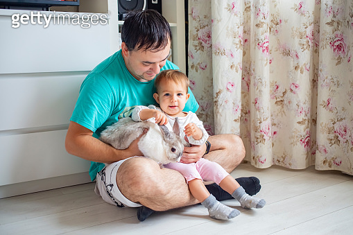 adorable baby sits in dad's arms and strokes a decorative rabbit. domestic animals in a family with children. father shows little child easter bunny