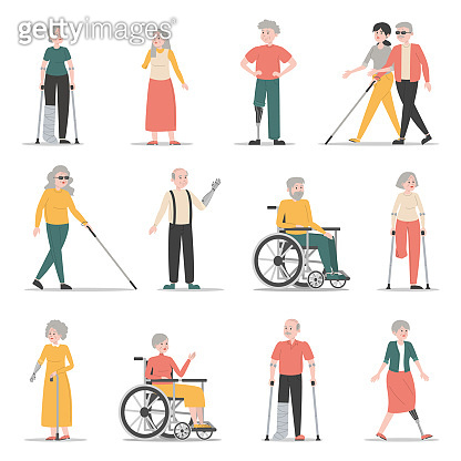 Disabled people vector set. Characters with disability