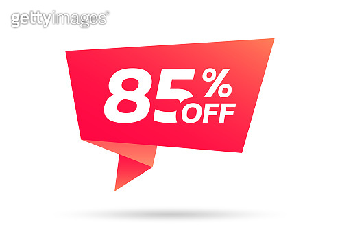 85% sale or discount tag, sticker or origami label. 85 percent price off badge. Promotion, ad banner, promo coupon design element. Vector illustration.