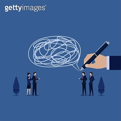 Business flat vector concept man talk with big bubble chat and big tangled thread inside metaphor of miss communication.