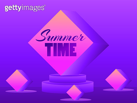 Summer time. 3d 80s style podium with purple gradient. 3D studio stage with podium, exhibition hall pedestal. Synthwave and retrowave style. Vector illustration