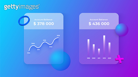 Glassmorphism infographics charts concept with 3d geometric shapes. Frosted glass effect. Illustration on blurred gradient vector background