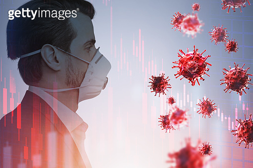 Man in protective mask, red coronavirus and graphs