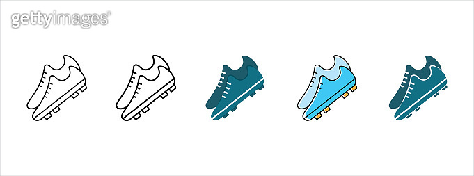 Football shoes icon. Soccer shoes icons set. Vector stock illustration