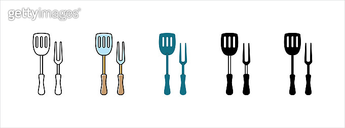 Spatula and fork icon set. Barbecue and grill utensils. Vector illustration