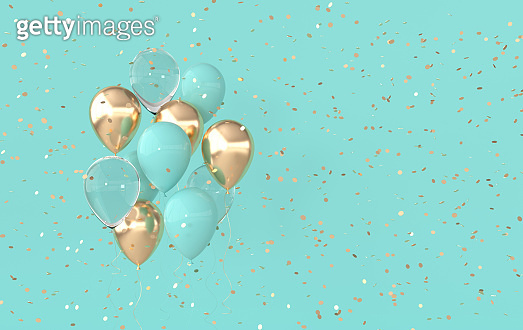 Illustration of glossy gold, pastel colored balloons and confetti background. Empty space for birthday, party, promotion social media banners, posters. 3d render realistic balloons