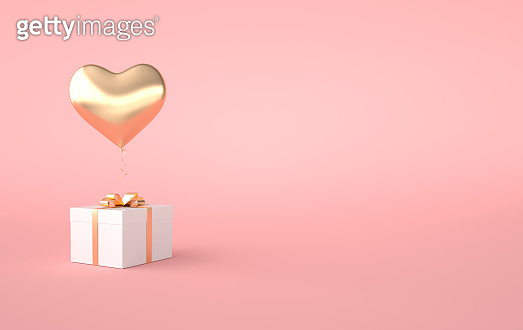 3d render illustration of gold glossy heart balloon, gift box with golden bow on pink background. Valentine's Day romantic elegant 14 february card. Empty space for party, promotion social media banners, posters.