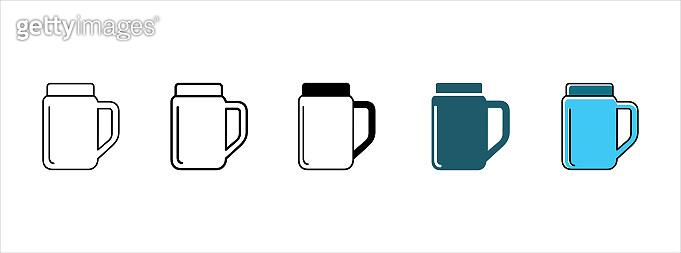 Mug icon set. Mug with the lid vector icon set