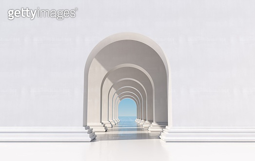 3d rendering. Arch hallway simple geometric background, architectural corridor, portal, arch columns inside empty wall. Modern minimal concept