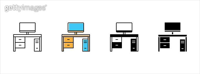 Desktop computer icon set. Desktop computer monitor icons set. Workspace icon vector illustration