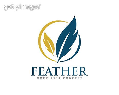 Feather Logo Icon Design Vector