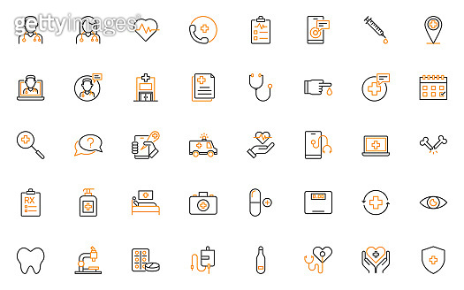 set of health thin line icons, hospital, online service