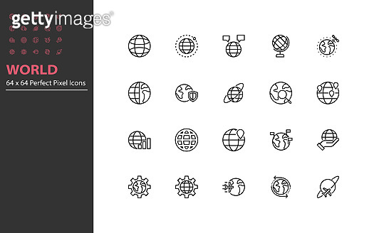 set of world thin line icons, globe, global, internet, communication