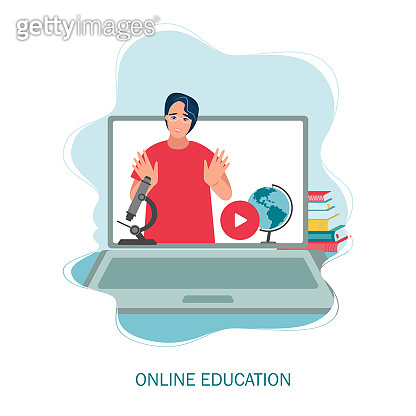 online education or distance exam concept, screen with teacher, studying on laptop. Vector illustration in flat style