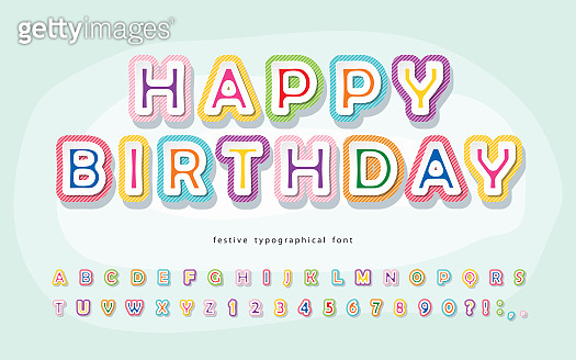 Cartoon font for kids. Happy Birthday. Paper cut out colorful alphabet. Vector
