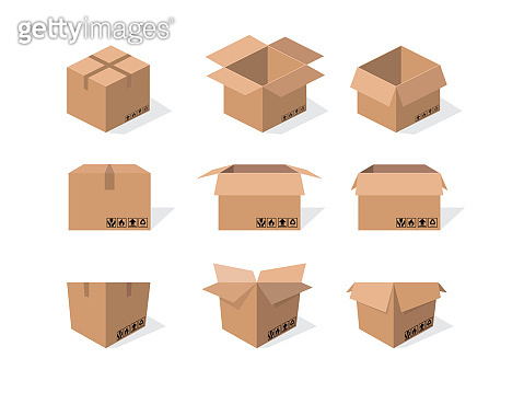 Cardboard box mockup set with Packaging symbols on the box.