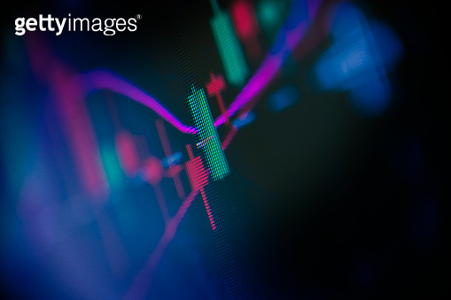 Finance and Trading Charts Macro Screen Photography
