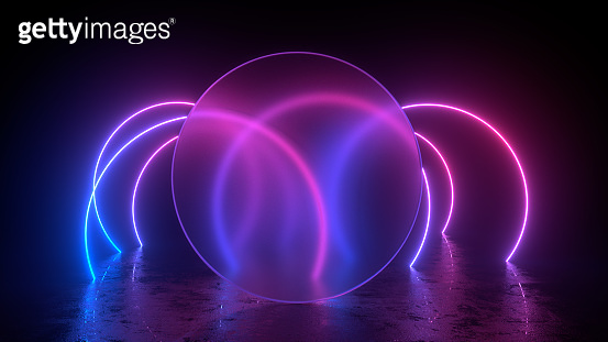 Abstract exhibition background with empty glass frame, ultraviolet neon lights, glowing lines
