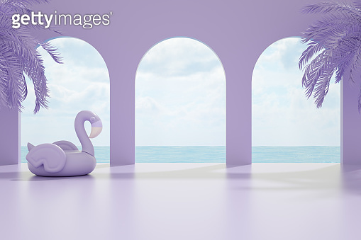 Minimal Summer Holiday Concept Lilac Background