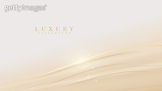 Elegant pastel light brown abstract background combined with golden line curve elements. modern luxury design template vector illustration.