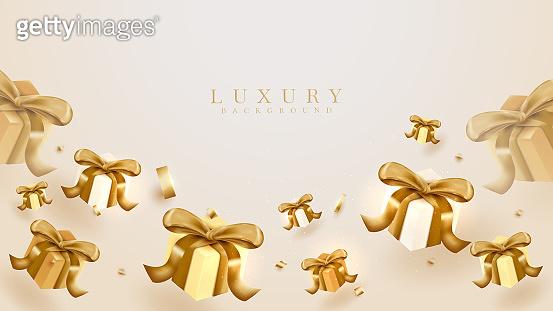 Realistic gift box element background, luxury scene, 3d vector illustration.