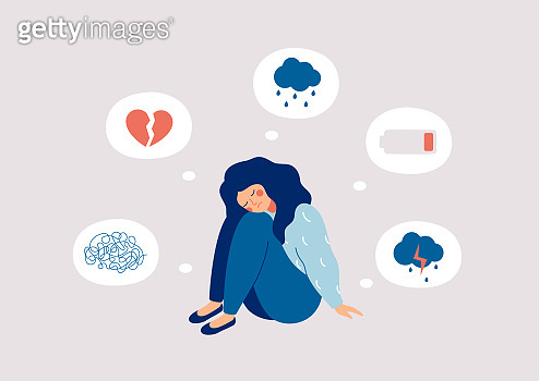 Girl surrounded by symptoms of depression disorder: anxiety, crisis, tears, exhaustion, loss,  overworked, tired.