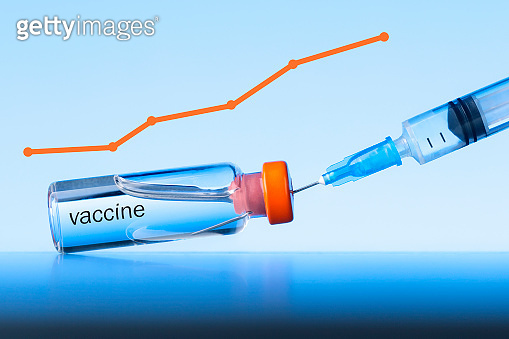 Graph growth of vaccination from coronavirus infection. Vaccination concept.