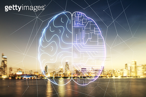 Double exposure of creative artificial Intelligence interface on Chicago city skyscrapers background. Neural networks and machine learning concept
