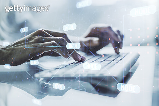 Multi exposure of abstract programming language hologram with hands typing on computer keyboard on background, artificial intelligence and machine learning concept