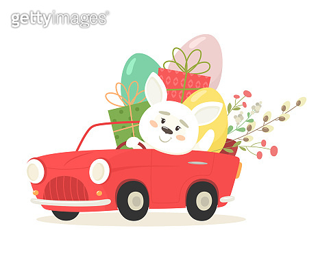 Cheerful bunny in a car with eggs and gifts. Happy Easter. Vector illustration in flat style.