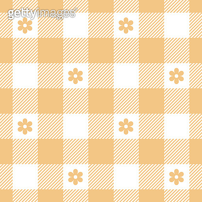 Gingham pattern with flowers in orange and white. Seamless vichy background vector graphic with floral motif for dress, shirt, picnic tablecloth, or other modern spring and summer fashion design.