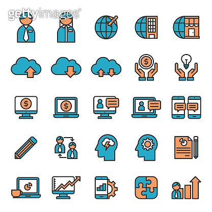 Business Communication, Global Financial Flat Lined Icon Set