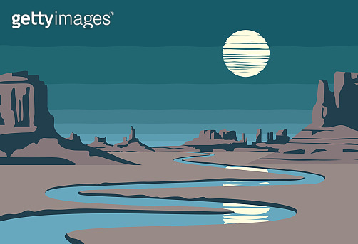 night western landscape with desert and river