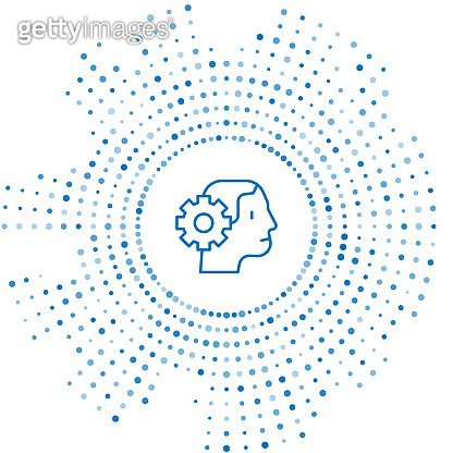Blue line Humanoid robot icon isolated on white background. Artificial intelligence, machine learning, cloud computing. Abstract circle random dots. Vector
