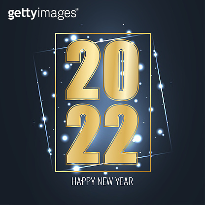 Happy New Year 2022 and Merry Christmas greeting card. Golden numbers and neon geometric frame on blue background with glowing stars light. Vector illustration