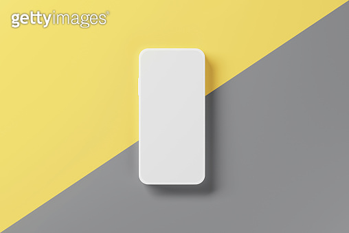 Minimal modern mockup mobile smartphones whit blank displays for presentation on yellow and grey backgrounds.