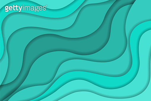 Bright turquoise wavy paper cut background