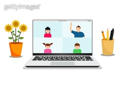 E-learning banner. Online education, home schooling. Modern workplace. Vector illustration
