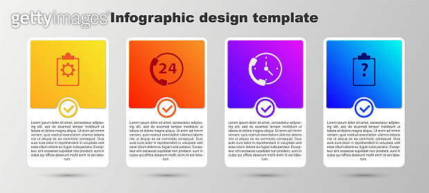 Set Checklist with 24 hours service, Telephone support, and Clipboard question marks. Business infographic template. Vector