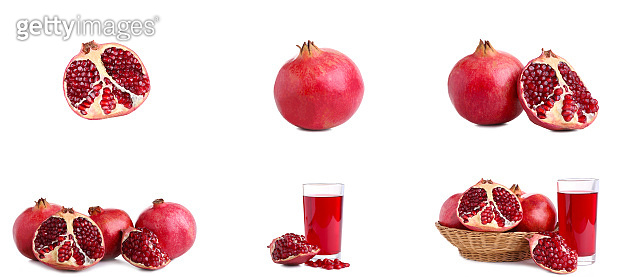Set of ripe pomegranate isolated on a white background